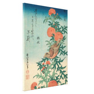 Hokusai Shrike and Blessed Thistle GalleryHD Art Canvas Print