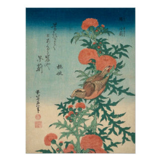 Hokusai Shrike and Blessed Thistle GalleryHD Poster