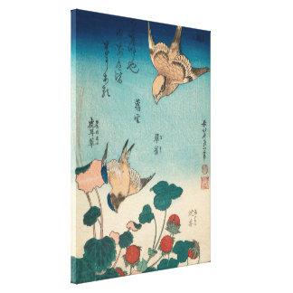 Hokusai Shrike and Bluebird GalleryHD Vintage Art Canvas Print