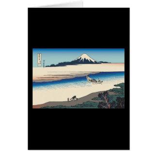 Hokusai Tama River in Musashi Province Greeting Card