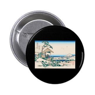 Hokusai Tea House Koishikawa Pinback Buttons