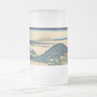 Hokusai: The Circular Pine Trees of Aoyama Frosted Glass Beer Mug