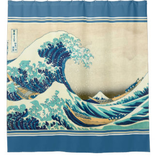 Hokusai The Great Wave nautical shower curtain