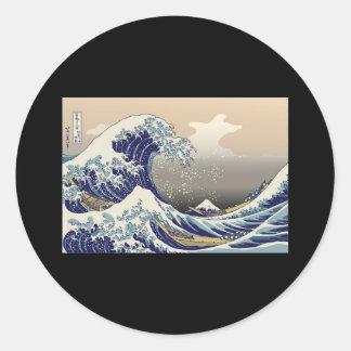 Hokusai The Great Wave Round Sticker