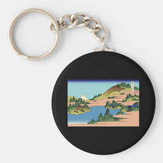Hokusai The lake of Hakone in Sagami Province Basic Round Button Keychain