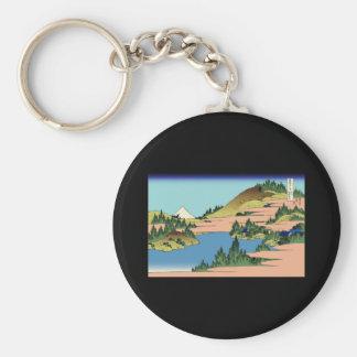 Hokusai The lake of Hakone in Sagami Province Basic Round Button Keychain