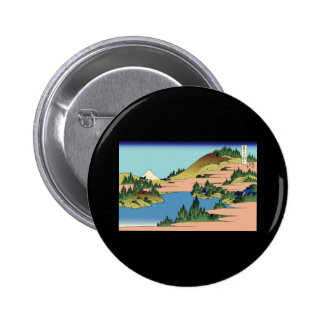 Hokusai The lake of Hakone in Sagami Province 2 Inch Round Button