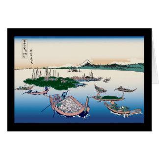 Hokusai Tsukuda Island in Musashi Province Cards