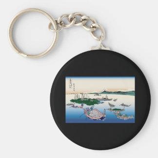 Hokusai Tsukuda Island in Musashi Province Key Chains