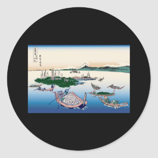 Hokusai Tsukuda Island in Musashi Province Round Sticker