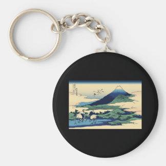 Hokusai Umegawa in Sagami Province Basic Round Button Keychain