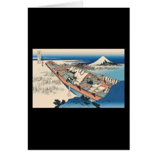 Hokusai Ushibori in Hitachi Province Cards