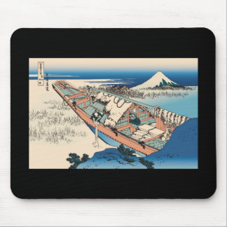 Hokusai Ushibori in Hitachi Province Mouse Pads
