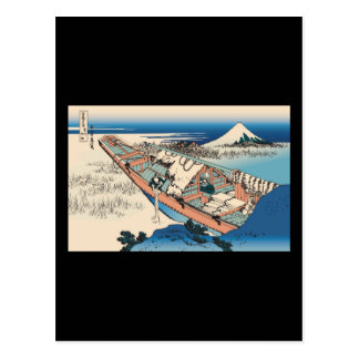 Hokusai Ushibori in Hitachi Province Postcard