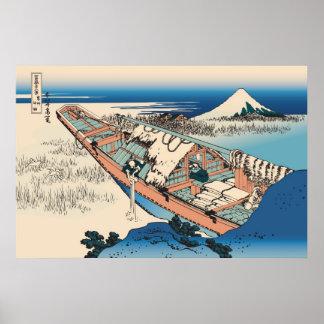Hokusai Ushibori in Hitachi Province Poster