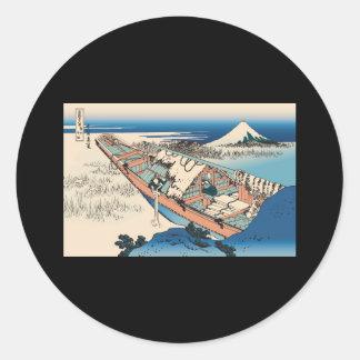Hokusai Ushibori in Hitachi Province Sticker