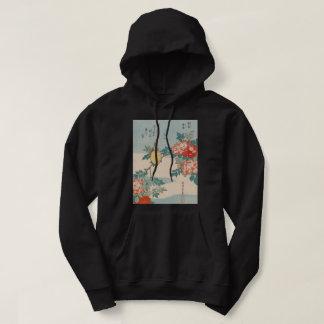 Hokusai Warbler and Roses GalleryHD Vintage Art Hoodie