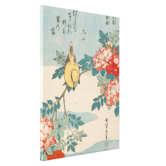Hokusai Warbler and Roses Vintage Floral GalleryHD Canvas Print