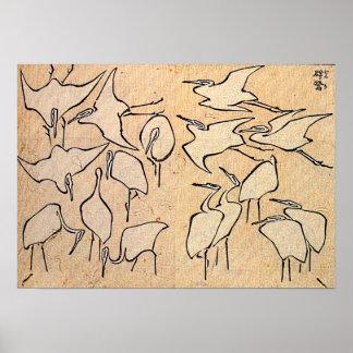 Hokusai's 'Cranes' Poster