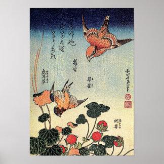 Hokusai's 'Wild Strawberries and Birds' Poster