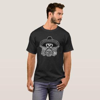 Hola Beaches T-Shirt Mexican Skull Sombrero Mousta