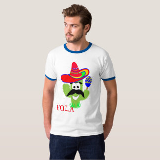Hola Cute Mexican Sombrero Cactus Funny Graphic T-Shirt