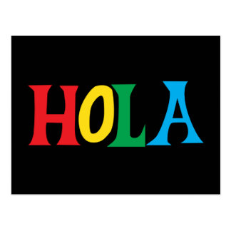 Hola in colorful typographic design postcard