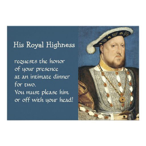Holbein Portrait of Henry VIII King of England Personalized Invitation
