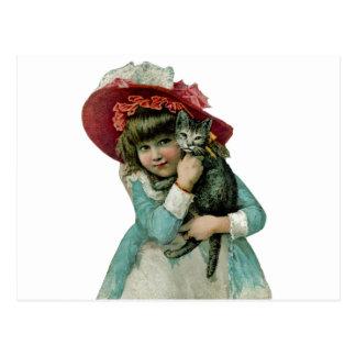 Holding a Christmas Kitten Postcard