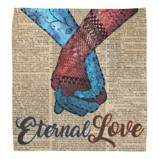 Holding Hands,Eternal Love,Space Dictionary Art Bandana