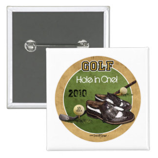 Hole in One - Golf 2 Inch Square Button