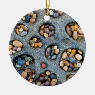 Holes filled with pebbles, CA Round Ceramic Ornament