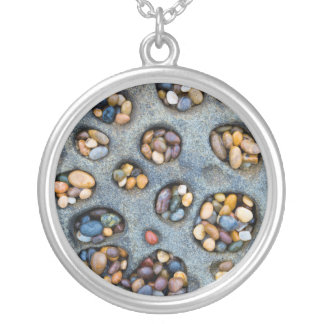 Holes filled with pebbles, CA Silver Plated Necklace