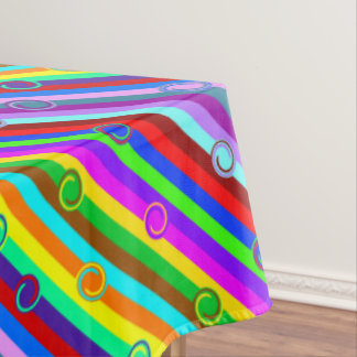 HOLI colored Stripes Swirls pattern + your ideas Tablecloth