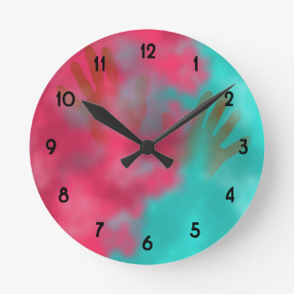 Holi Powder and Hands Round Clock