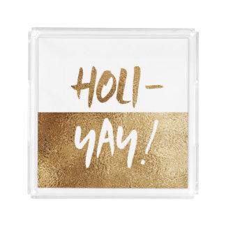 HOLI-YAY! Fun Typography Holiday Acrylic Tray