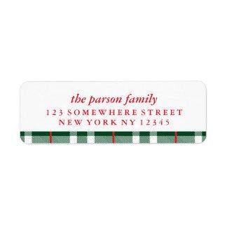 Holiday Address Label Green Plaid