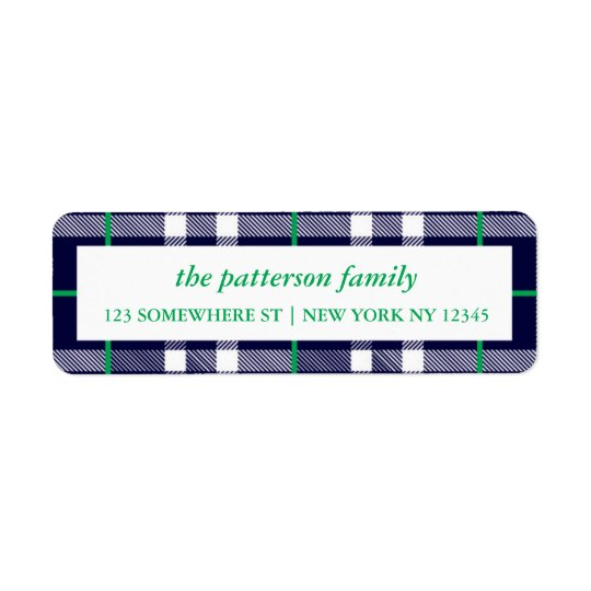 Holiday Address Label Plaid Border Navy