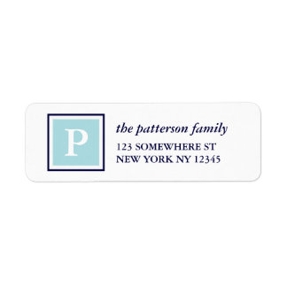 Holiday Address Label Square Monogram Navy