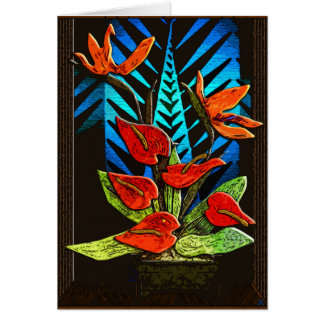 Holiday Anthurium - Vivid Red and Green Plus Blue Card
