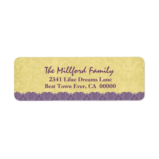 Holiday Antique Gold Coloured Printed Lace Family Return Address Label
