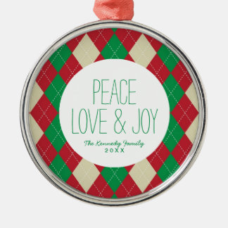 Holiday Argyle Pattern Metal Ornament