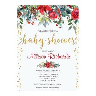 Holiday baby shower invitation floral watercolors