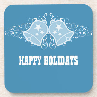 Holiday Bells and Swirls Coaster Set, Blue