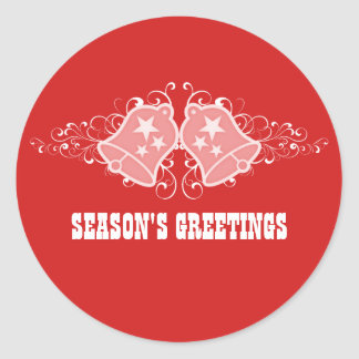 Holiday Bells and Swirls Stickers, Red Classic Round Sticker