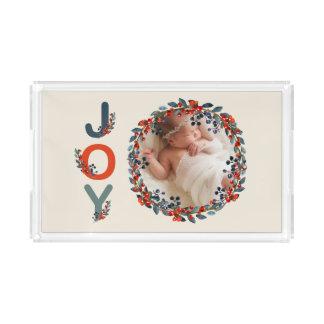 Holiday Berries Baby's First Christmas Joy Photo Acrylic Tray