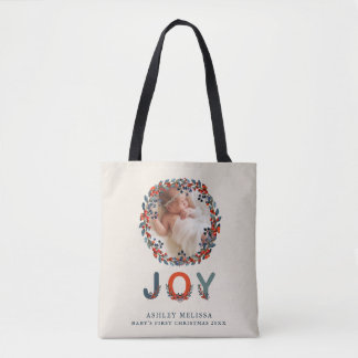 Holiday Berries Baby's First Christmas Joy Photo Tote Bag