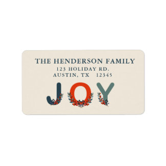 Holiday Berries Joy Modern Christmas Label