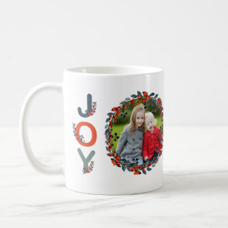 Holiday Berries Modern Christmas Joy Photo Coffee Mug