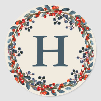 Holiday Berries Watercolor Wreath Monogram Holiday Classic Round Sticker